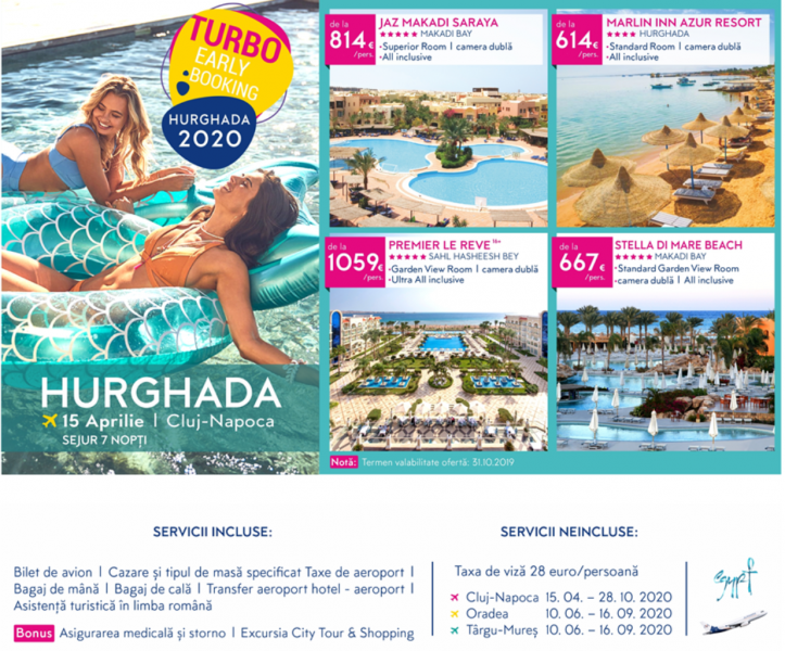 Turbo Early Booking 2020 | Oferta de Paşte ✈ Hurghada din Cluj